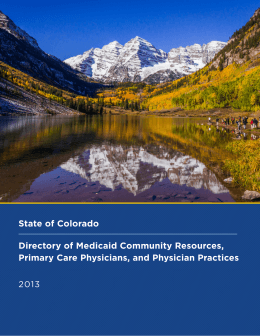 State of Colorado Directory of Medicaid Community Resources