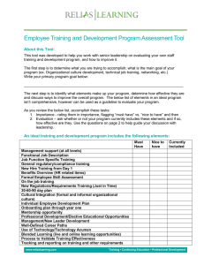 Staff Training and Development Program Assessment Tool