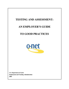 testing and assessment: an employer`s guide to good practices