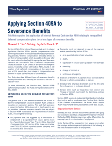 Applying Section 409A to Severance Benefits