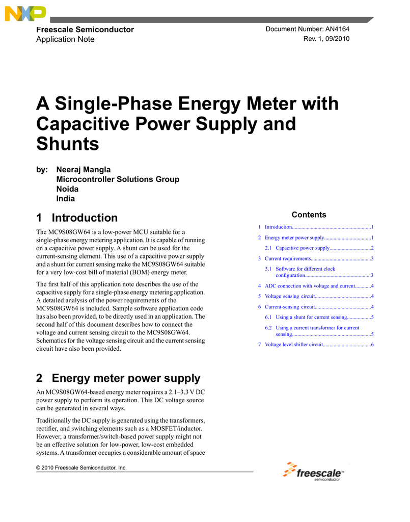 An4164 A Single Phase Energy Meter With Capacitive Power Transformer Software For Analysis And Rectifier Circuit
