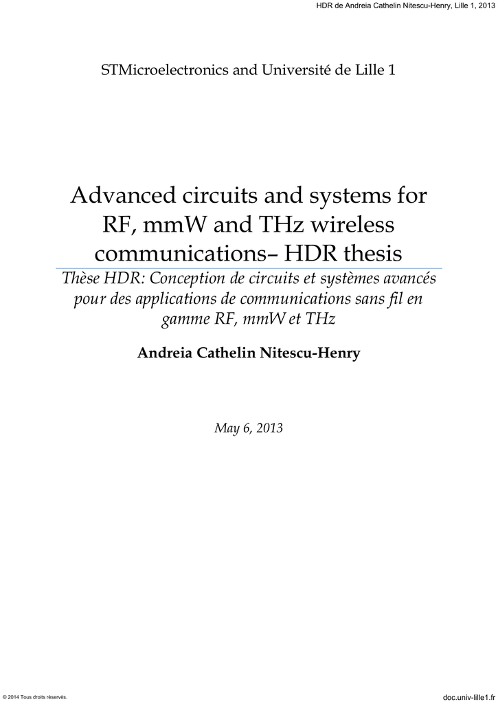 Advanced circuits and systems for RF, mmW and THz wireless