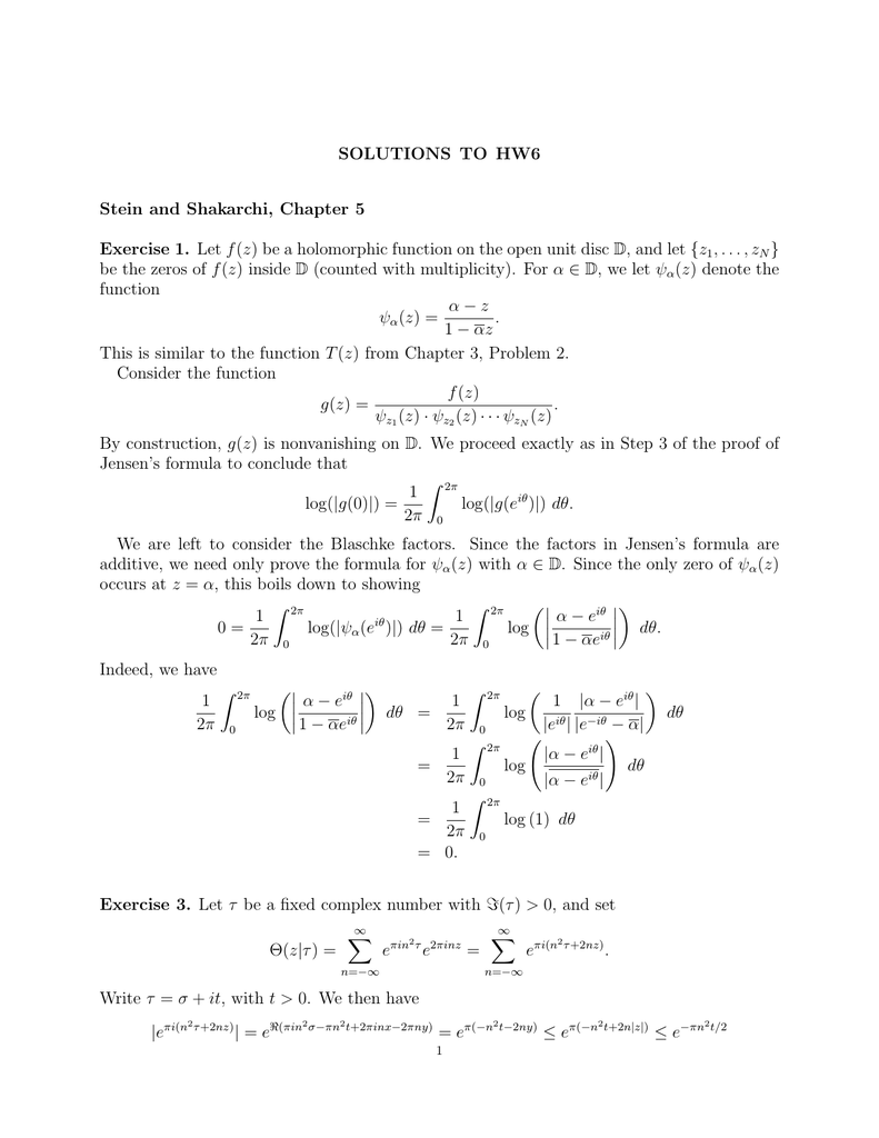 Solutions To Hw6 Stein And Shakarchi Chapter 5 Exercise 1