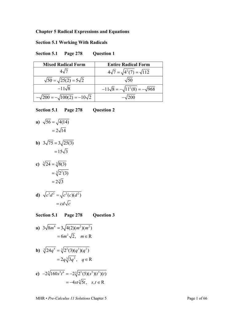 Chapter 5 Radical Expressions and Equations