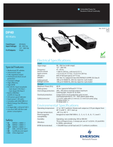 DP40 Electrical Specifications Environmental Specifications