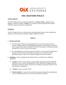 OIX Chapters Policy - Open Identity Exchange