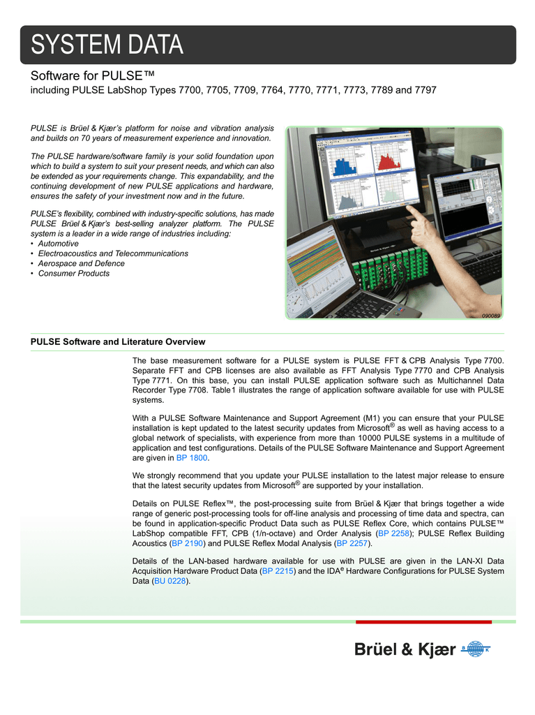 System Data: Software for PULSE including PULSE LabShop Types