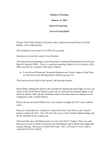 Minutes of Meeting January 21, 2016 Board of Selectmen Town of