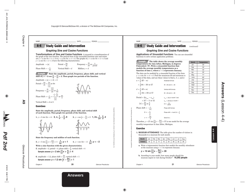 5 3 Practice Solving Trigonometric Equations Glencoe