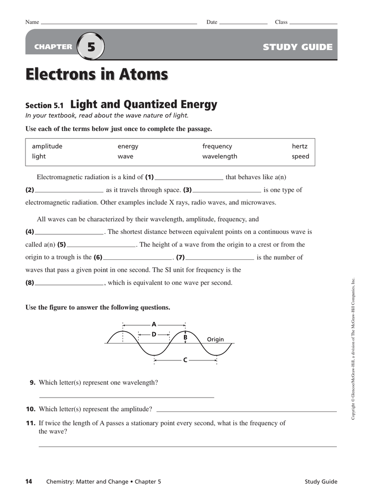 Printables of Electrons In Atoms Worksheet Answers Chapter 5 1 ...