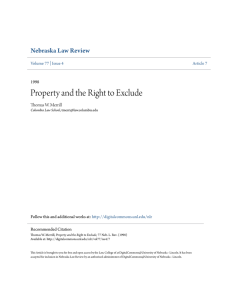 Property and the Right to Exclude - DigitalCommons@University of