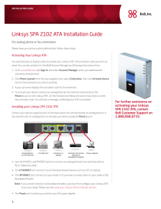 Linksys SPA 2102 ATA Installation Guide - Packet8