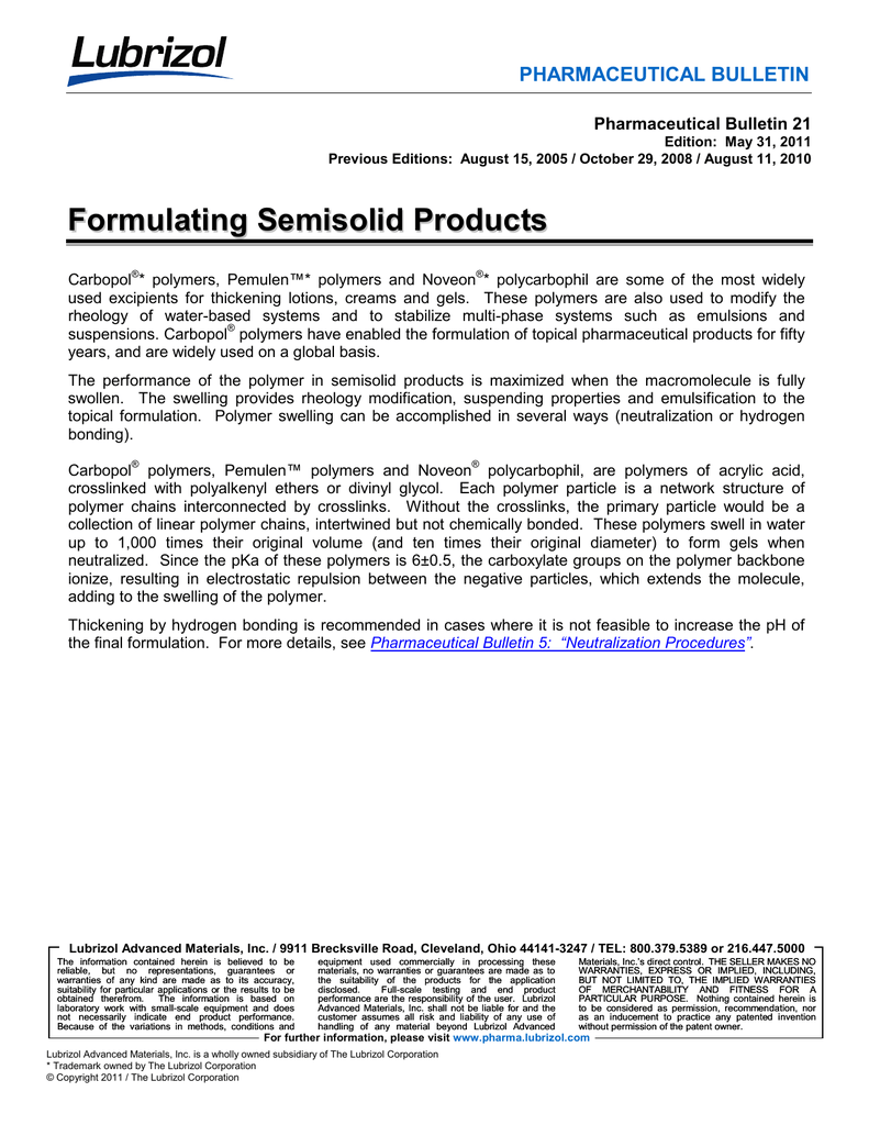 Bulletin 21 -- Formulating Semisolid Products
