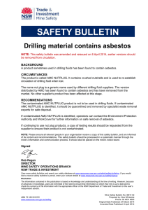 Drilling material contains asbestos
