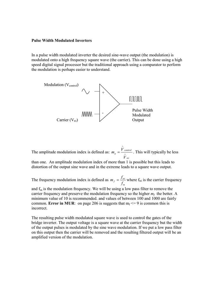 Pulse Width Modulated Inverters In a pulse width modulated