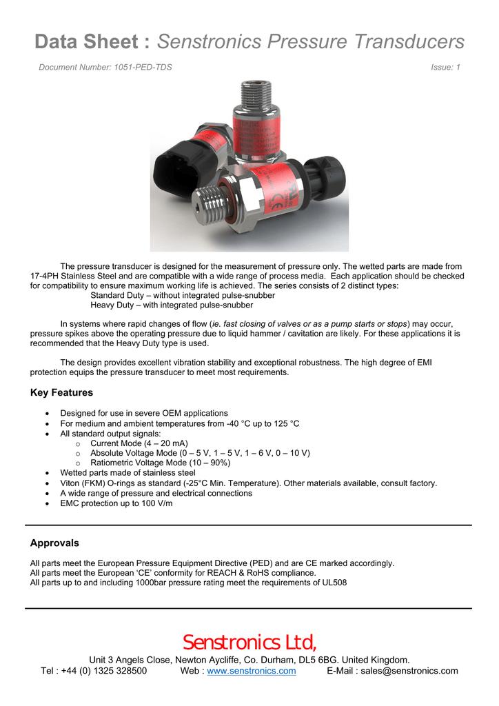 Data Sheet : Senstronics Pressure Transducers Senstronics Ltd,