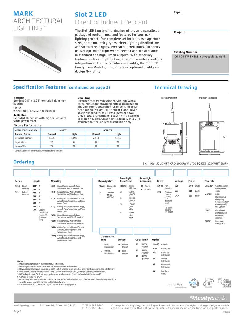 SLOT 2 LED DIRECT OR INDIRECT PENDANT