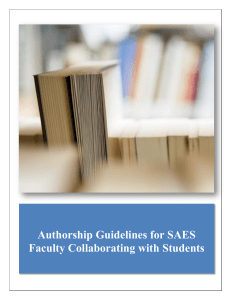 Authorhip Guidelines or SAES Faculty Collaborating with Students