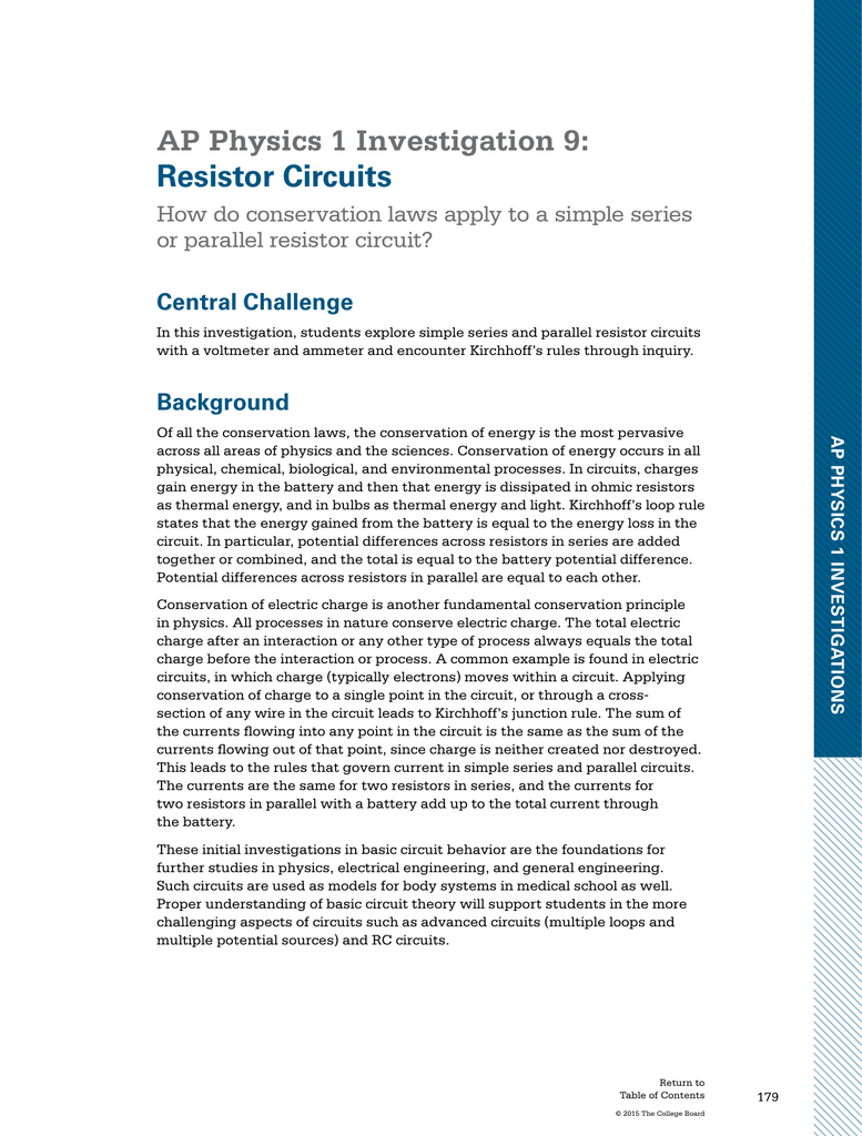 AP Physics 1 Investigation 9: Resistor Circuits