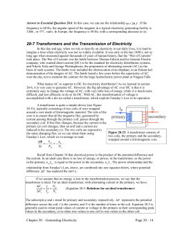 20-7 Transformers and the Transmission of Electricity
