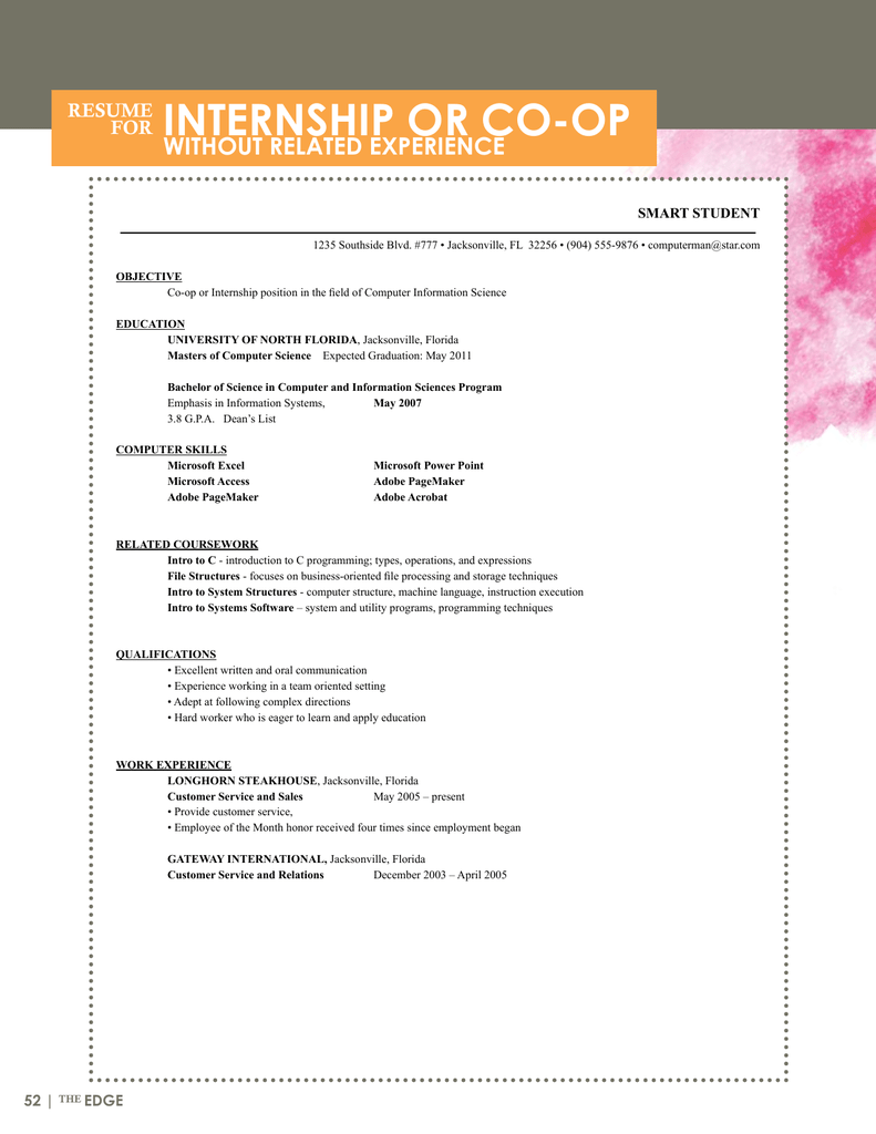 Sample Resumes - University of North Florida