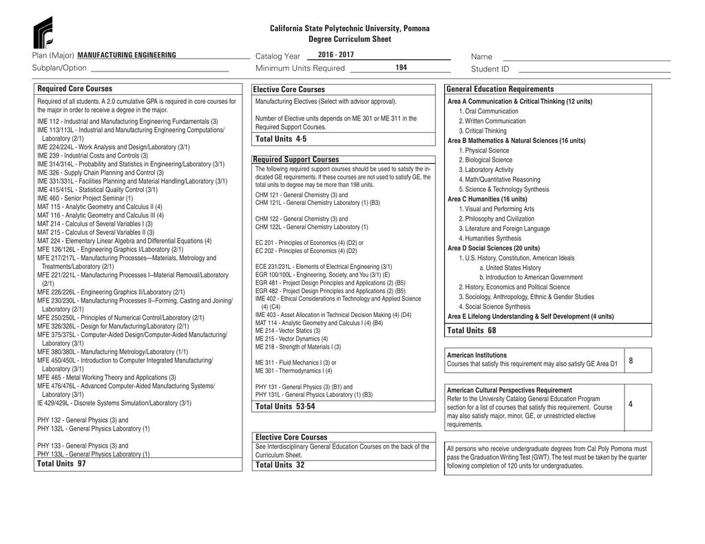 Curriculum Sheet - Cal Poly Pomona