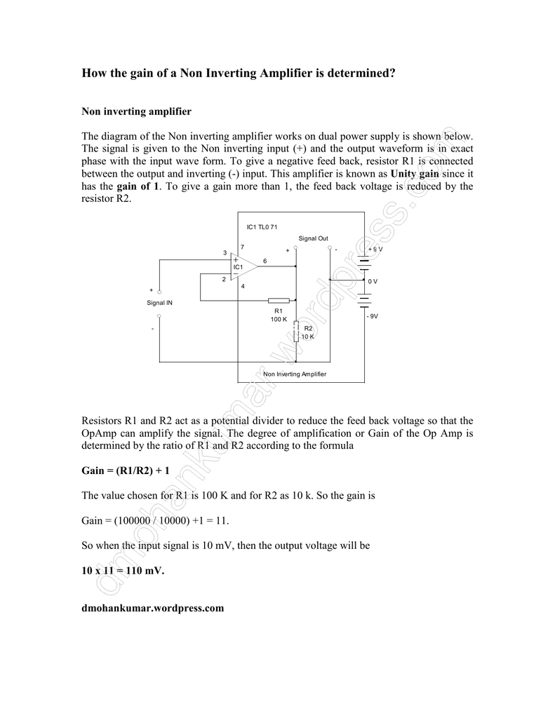 How The Gain Of A Non Inverting Amplifier Is With Class Ab