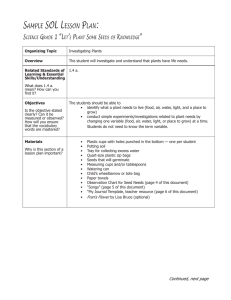 Sample SOl leSSOn plan: Science Grade 1