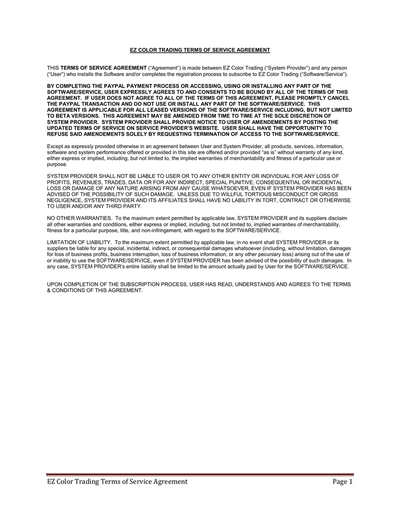 Ez Color Trading Terms Of Service Agreement Page 1