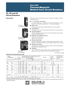 FA, FH and FC Thermal-magnetic Molded Case Circuit Breakers