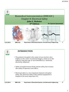 Biomedical Instrumentation (BME420 ) Chapter 8: Electrical Safety