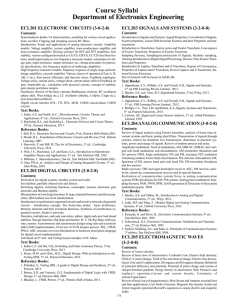 Course Syllabi Department of Electronics Engineering
