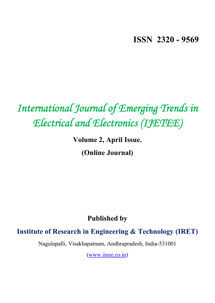 International Journal of Emerging Trends in Electrical and