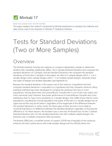 2-Sample Standard Deviation Test in the Assistant