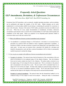 Frequently Asked Questions GLP Amendments, Deviations
