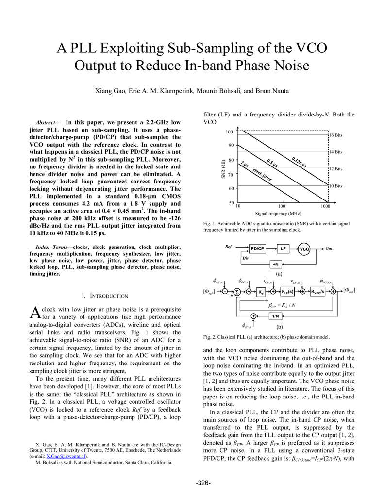 A Pll Exploiting Sub Sampling Of The Vco Output To Reduce In How Use Buffer For Isolating Oscillator Circuits