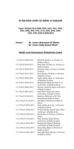 Sindh Local Government Delimitation Cases