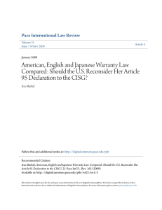 American, English and Japanese Warranty Law Compared: Should