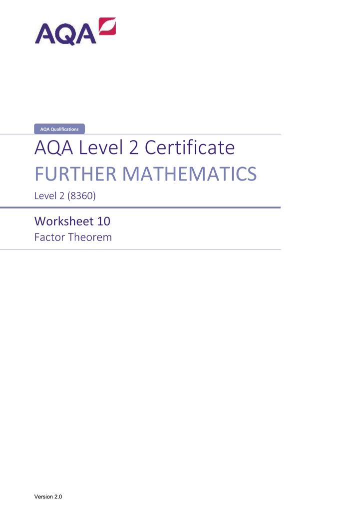 AQA Level 2 Certificate FURTHER MATHEMATICS