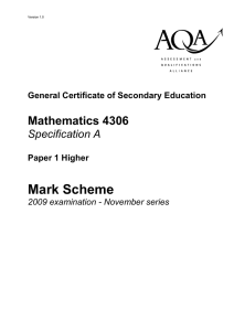 GCSE Mathematics (Specification A) Mark Scheme Paper 1 Higher