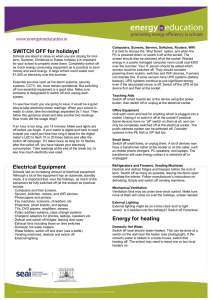 Switch off for Holidays Factsheet