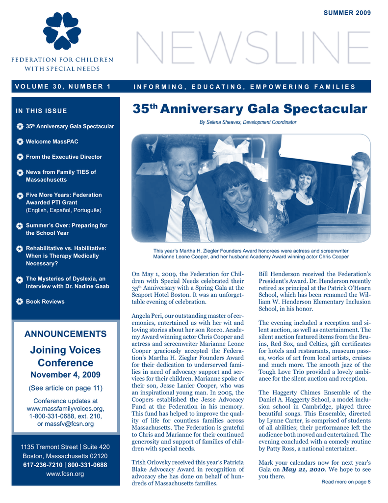 From Fcsn E Newsline Volume 35 Number 2 >> 35th Anniversary Gala Spectacular Federation For Children With