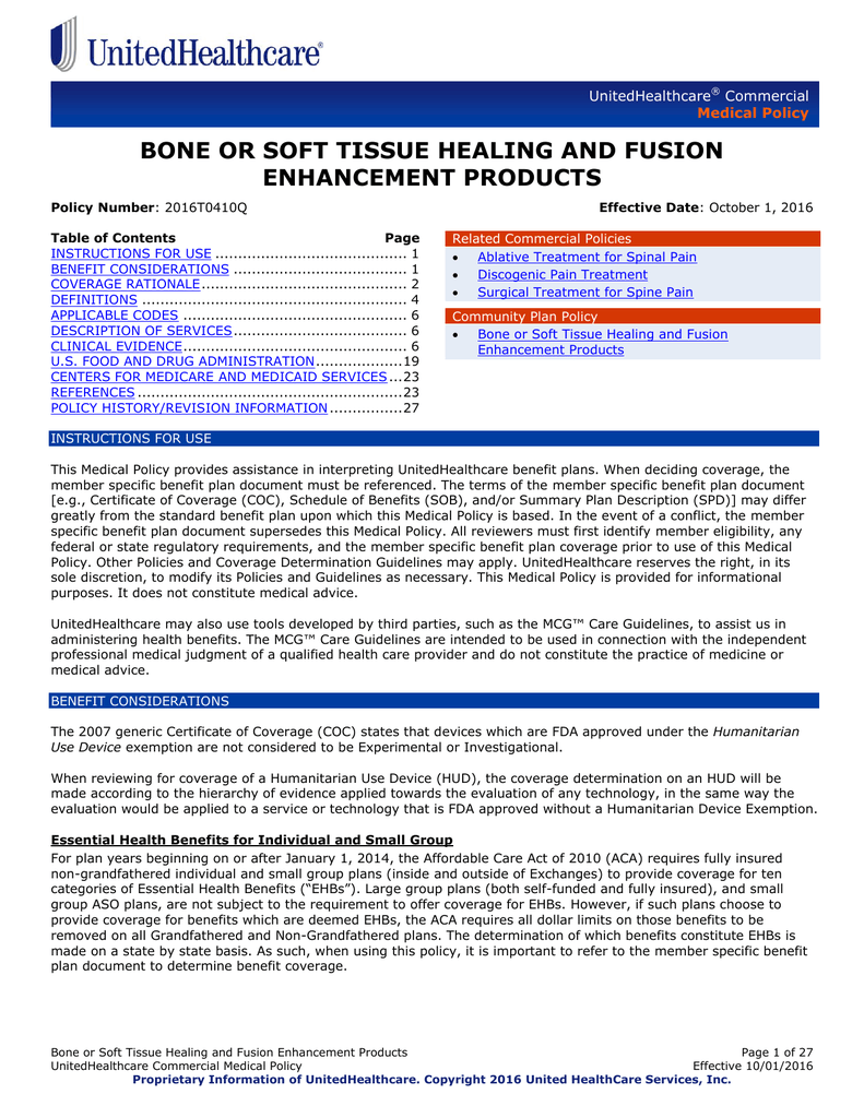 Bone Or Soft Tissue Healing And Fusion Enhancement Products