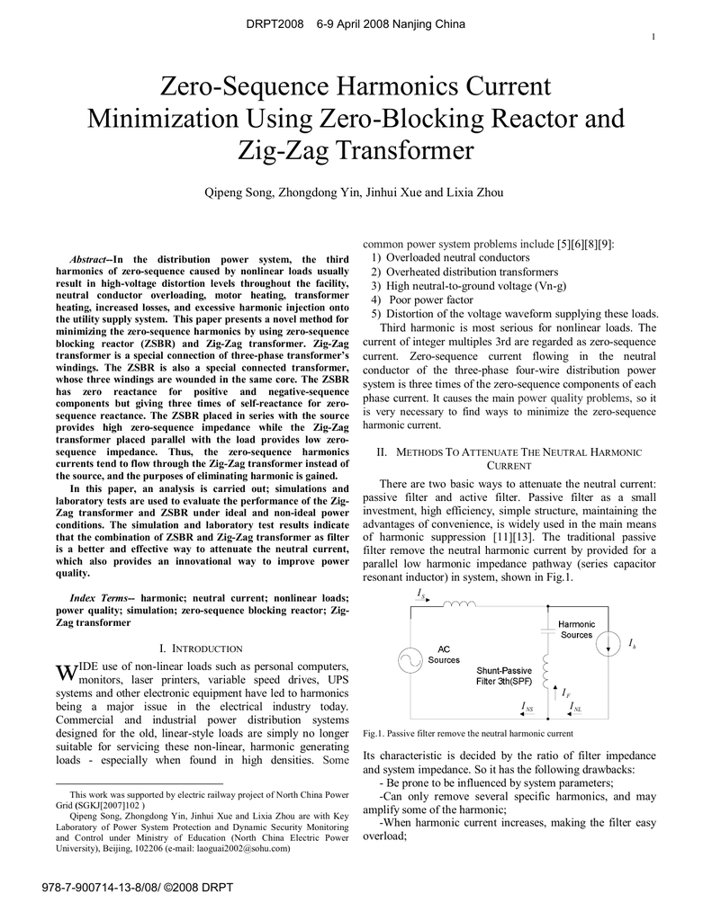 Zero Sequence Harmonics Current Minimization Using Zig Zag Transformer Wiring Diagram