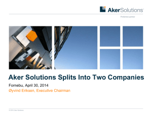Aker Solutions Splits Into Two Companies