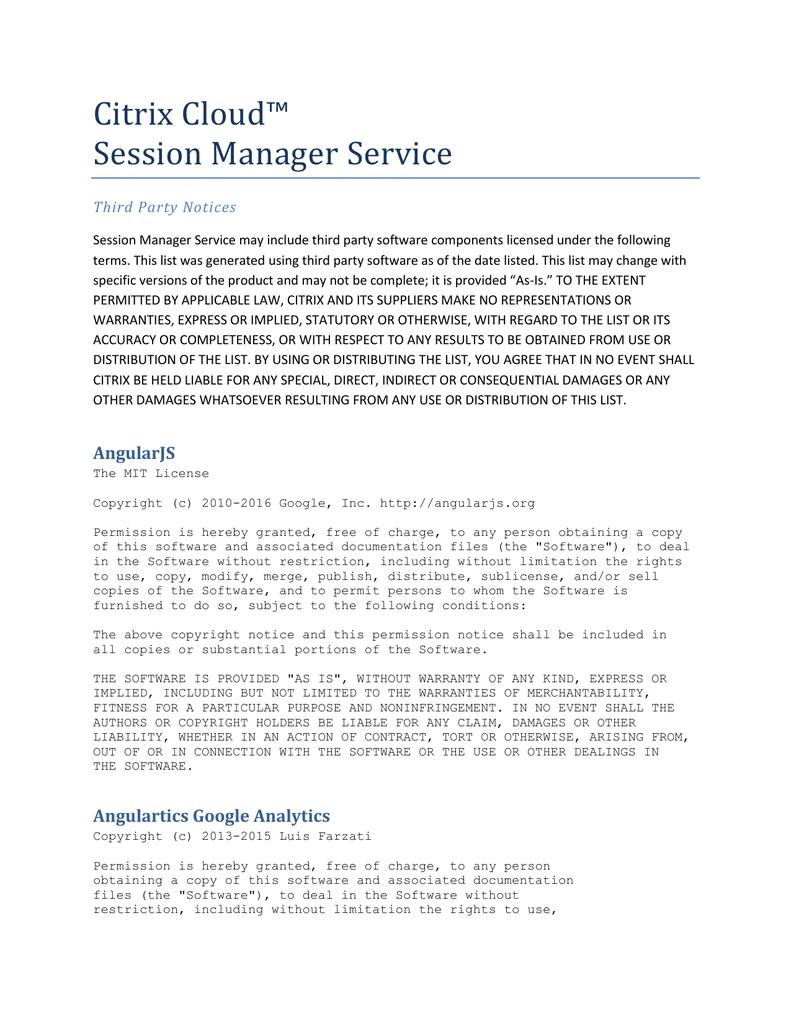 Citrix Cloud™ Session Manager Service