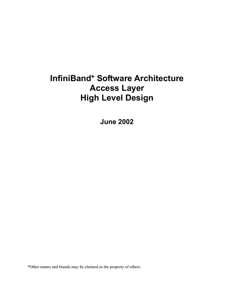 Infiniband Software Architecture High Level Design