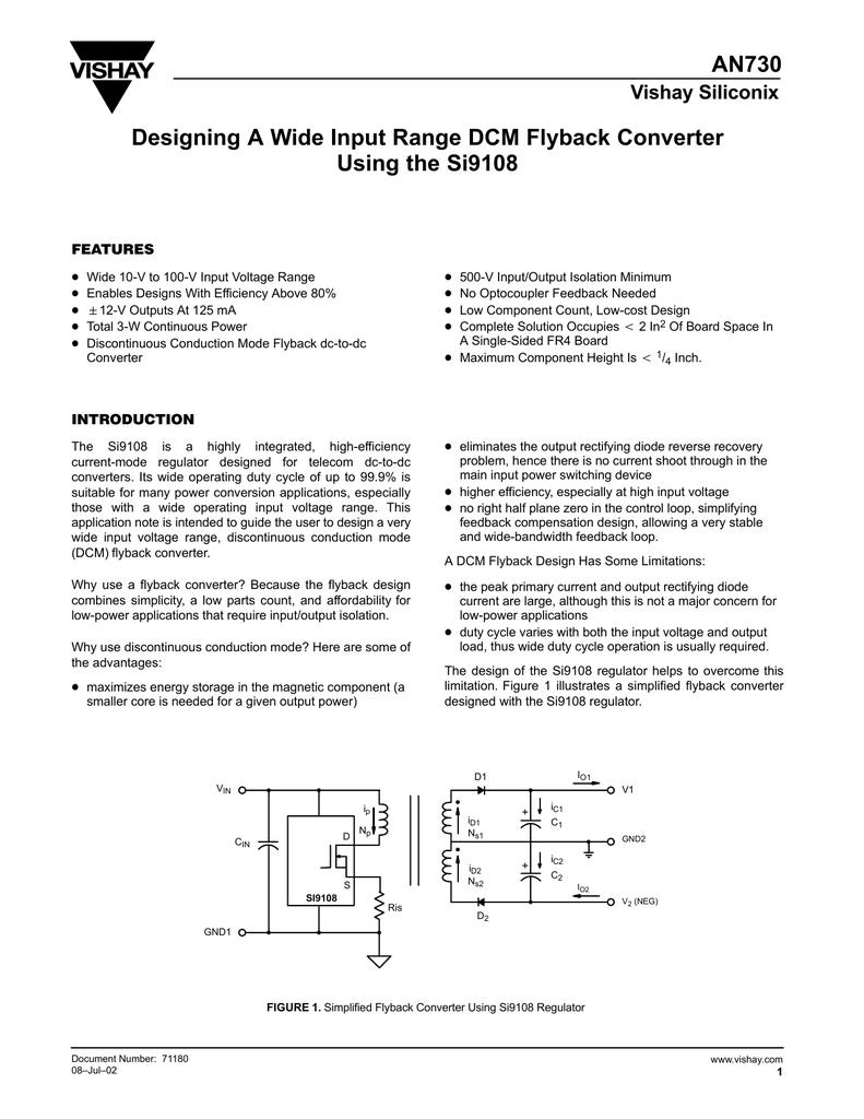 An730 Designing A Wide Input Range Dcm Flyback Converter Basic Single Output Circuit Diagram