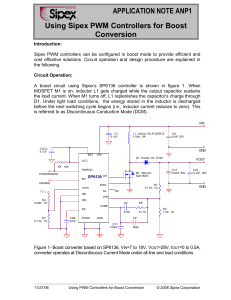APPLICATION NOTE ANP1 Using Sipex PWM Controllers for