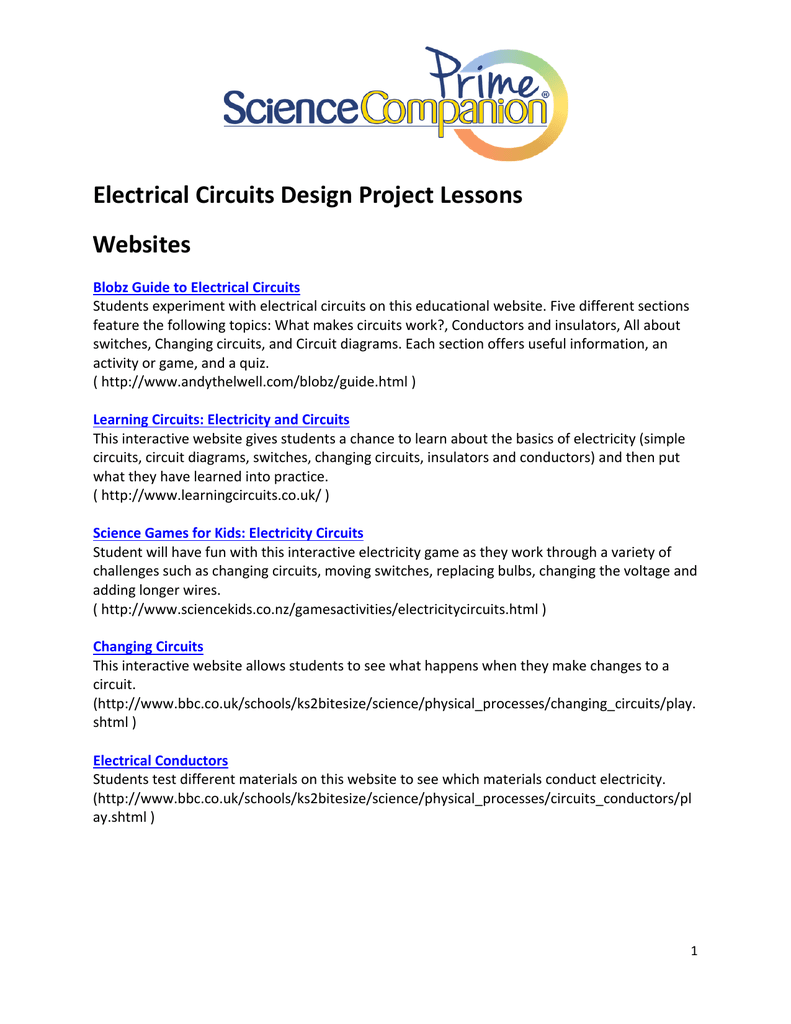 electrical circuits design project lessons websites